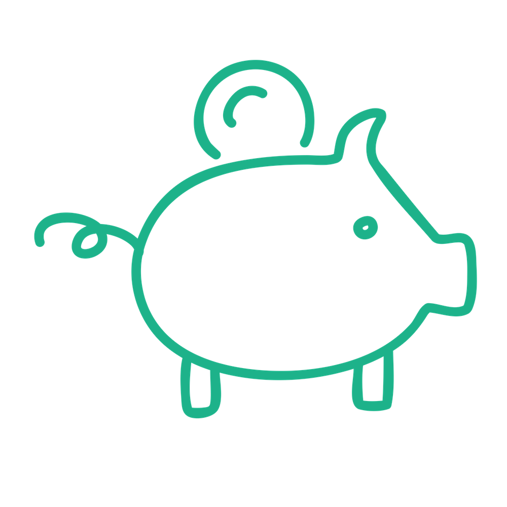 SUMMERHILL icon - green - piggy bank - 1000