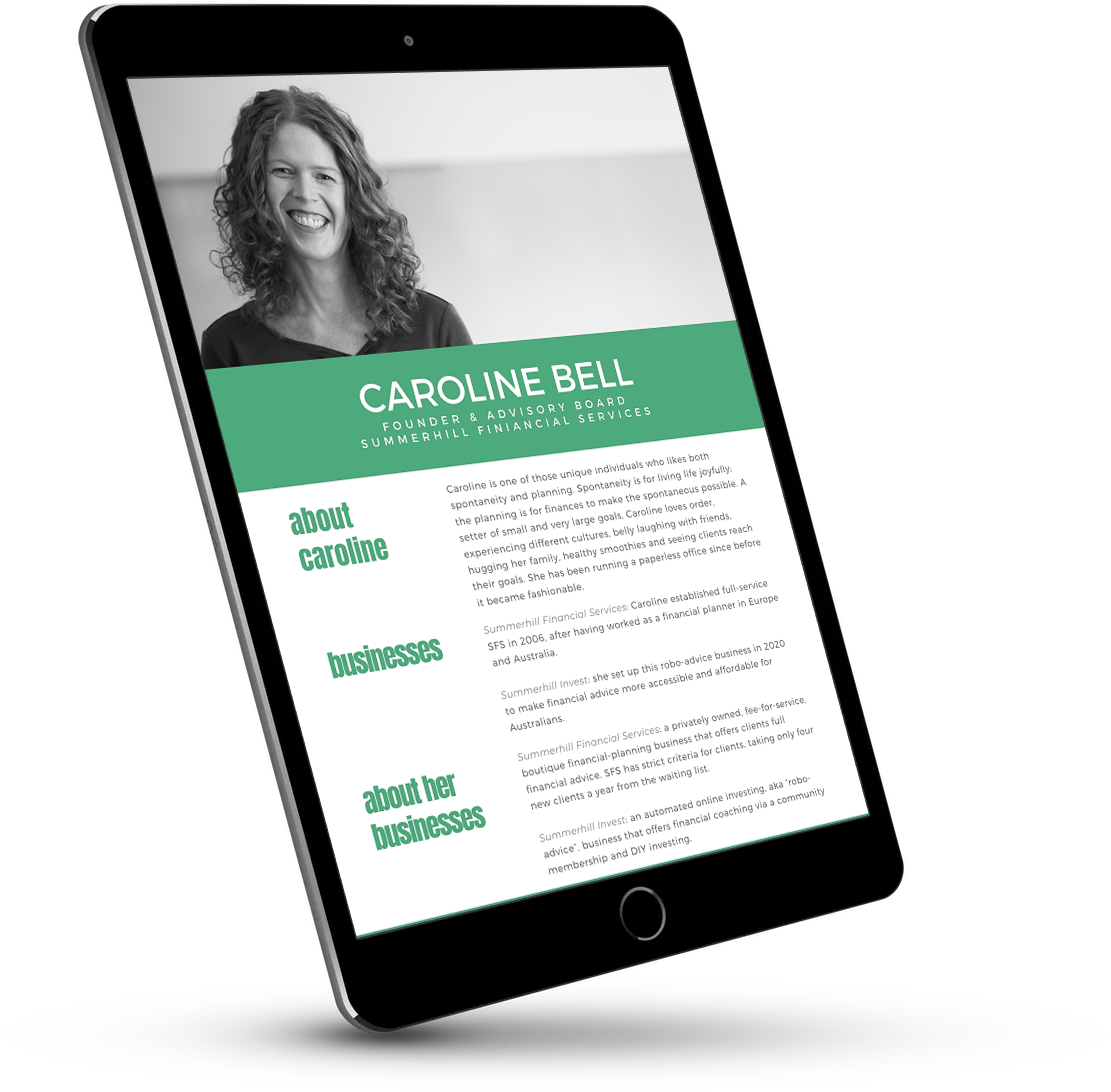Speaking bio for Caroline Bell, Founder of Summerhill Financial Services | summerhillfs.com.au